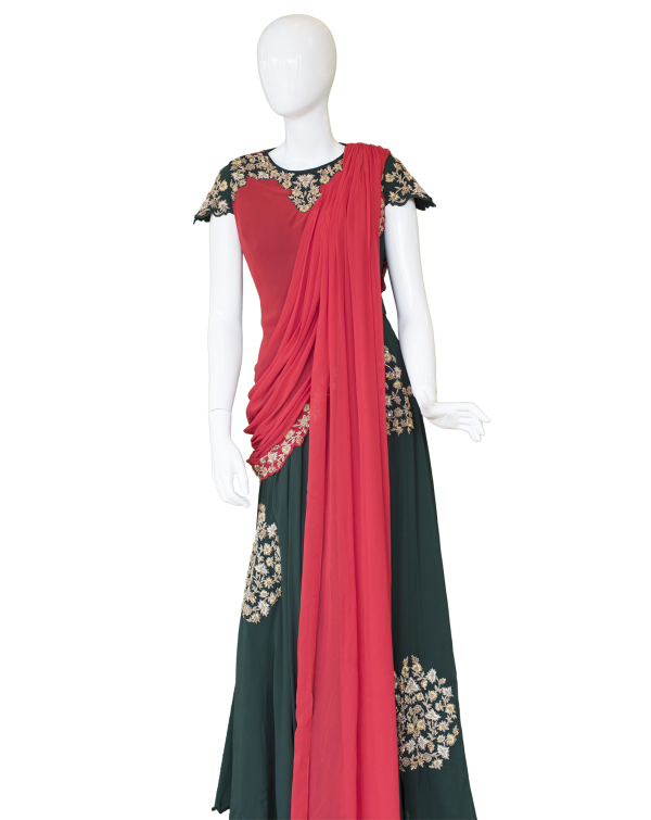BlackDressRedDupatta Chicago Fashions