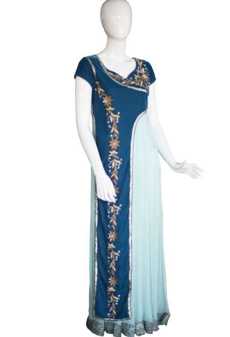 BlueOnePieceGown Indian Design