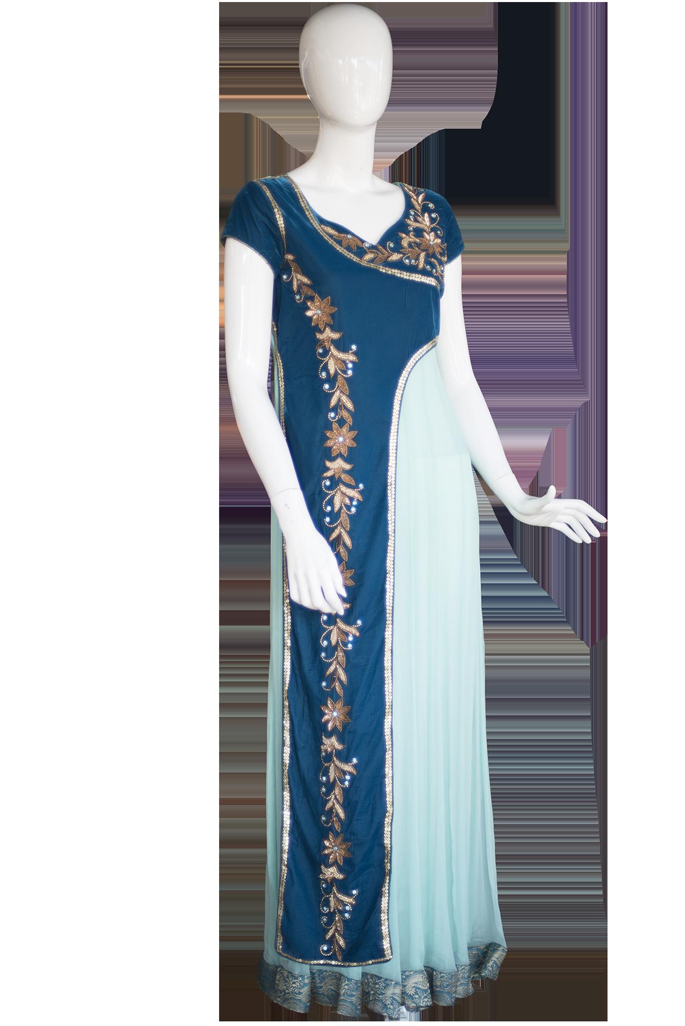 BlueOnePieceGown Indian Design