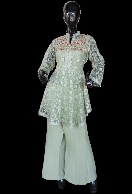 SemiFormalPeplumInGreen pakistani wedding dresses